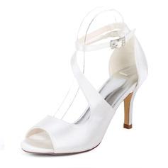 Kvinner silke som sateng Stiletto Hæl Pumps Sandaler med Spenne Elastisk bånd