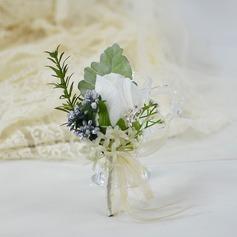 Hånd Bundet Silke blomst Boutonnie (som selges i et enkelt stykke) -