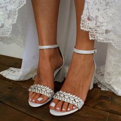 Kvinner Lær Stor Hæl Titte Tå Platform Sandaler med Spenne Imitert Perle Rhinestone Glitrende Glitter Perle (047235331)