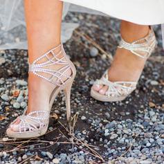 Kvinner Lær Stiletto Hæl Titte Tå Platform Sandaler med Imitert Perle Rhinestone Glitrende Glitter Perle