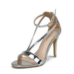 Kvinner Patentert Lær Stiletto Hæl Sandaler Titte Tå med Spenne sko