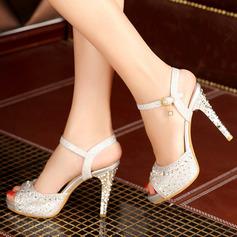 Kvinner Lær Stiletto Hæl Sandaler med Glitrende Glitter Spenne sko (087114594)