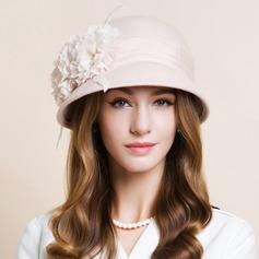 Damene ' Vakkert Ull med Silke blomst Stiv / Cloche Hatt