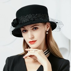 Damene ' Elegant Ull med Tyll Stiv / Cloche Hatt/Tea Party Hats