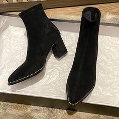 Kvinner Semsket Stor Hæl Ankelstøvler Spissetå med Annet sko