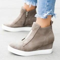 Women's Suede Wedge Heel Platform Wedges With Zipper shoes (088209597)