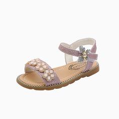 Girl's Peep Toe Microfiber Leather Flat Heel Flower Girl Shoes With Sequin