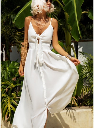 Solid A-line Spaghetti Straps Sleeveless Maxi Little Black Party Sexy Vacation Skater Type Dresses