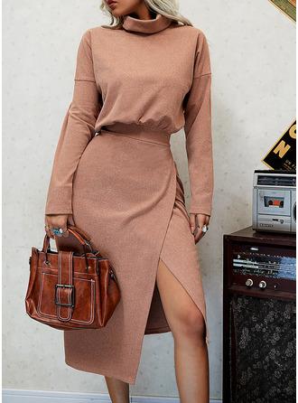 Solid Sheath High Neck Long Sleeves Midi Casual Dresses