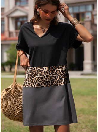 Leopard Color Block Shift V-Neck Short Sleeves Midi Casual T-shirt Dresses