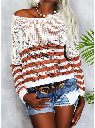 Round Neck Long Sleeves Regular Striped Casual Pullovers