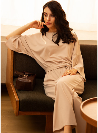 Solid A-line Round Neck 3/4 Sleeves Midi Casual Elegant Little Black Jumpsuits Dresses