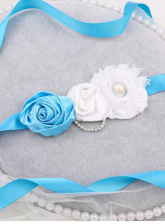Flower Girl Polyester Sash With Flower/Rhinestones/Imitation Pearls
