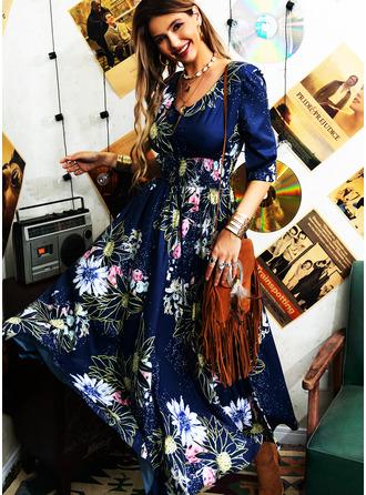 Floral Print A-line V-Neck 1/2 Sleeves Maxi Elegant Skater Dresses