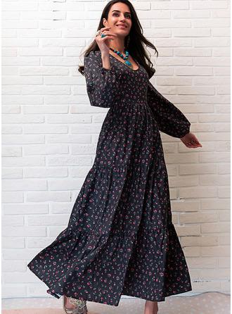 Trykk A-line kjole V-hals Lange ermer Maxi Avslappet skater Motekjoler