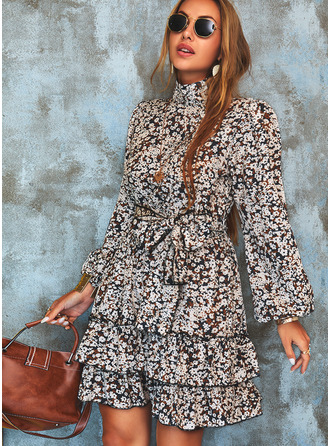Print A-line High Neck Long Sleeves Midi Casual Skater Dresses
