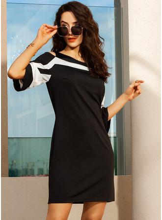 Striped Sheath Round Neck Cold Shoulder Sleeve Midi Casual Elegant Dresses