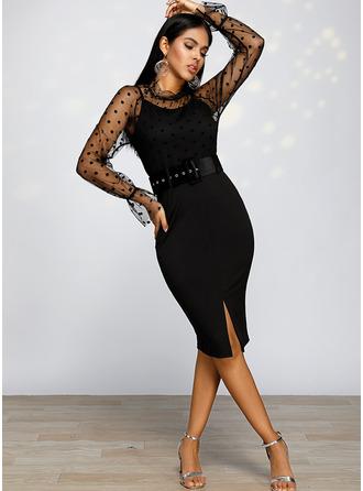 PolkaDot Sheath High Neck Long Sleeves Midi Elegant Party Dresses