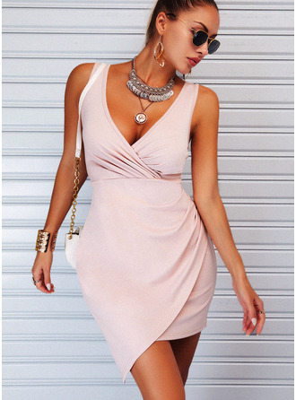Solid Sheath V-Neck Sleeveless Midi Elegant Dresses
