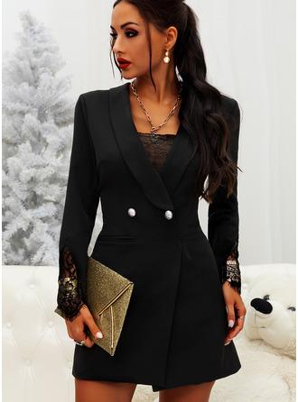 Lace Solid Bodycon Suit Collar Long Sleeves Midi Elegant Little Black Dresses