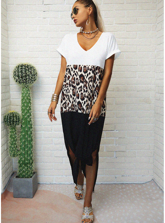 Leopard Color Block Shift V-Neck Short Sleeves Maxi Casual T-shirt Dresses