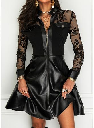 Lace Solid A-line High Neck Long Sleeves Midi Elegant Little Black Skater Dresses