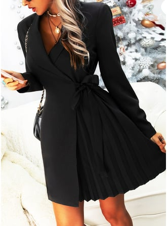 Solid Sheath Suit Collar Long Sleeves Midi Casual Elegant Little Black Wrap Dresses
