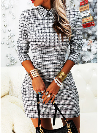 Plaid Bodycon Shirt collar Long Sleeves Midi Elegant Dresses