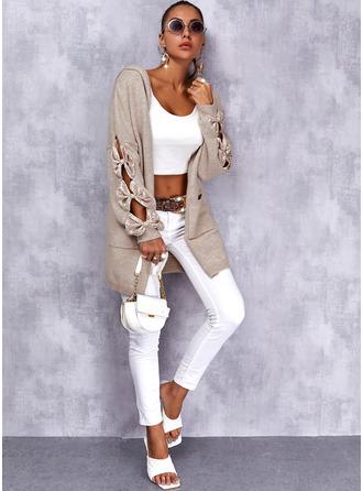 Hooded Long Sleeves Regular Solid Casual Cardigans