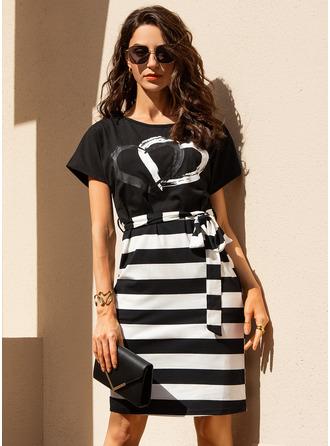 Print Striped Bodycon Round Neck Short Sleeves Midi Casual Pencil Dresses