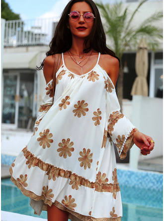 Floral Print Spaghetti Straps Long Sleeves Cold Shoulder Sleeve Midi Dresses