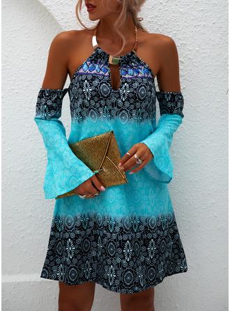 Print Shift Cold Shoulder Long Sleeves Midi Casual Dresses