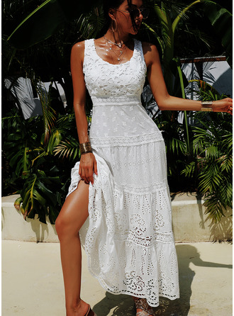 Lace Solid U-Neck Sleeveless Maxi Dresses