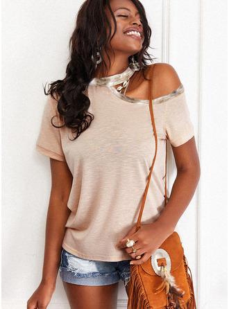 Regular Cotton Blends One Shoulder Solid Fitted Blouses