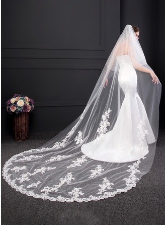 Two-tier Lace Applique Edge Chapel Bridal Veils With Lace