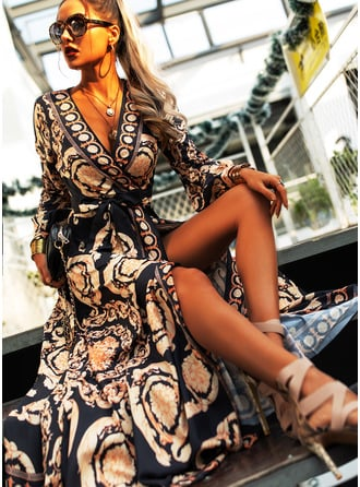 Print A-line V-Neck Long Sleeves Maxi Party Vintga Skater Wrap Dresses