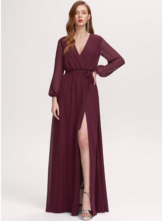 V-Neck Long Sleeves Maxi Dresses
