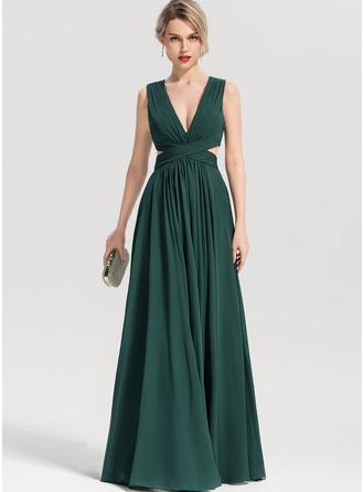 V-neck Floor-Length Chiffon Bridesmaid Dress