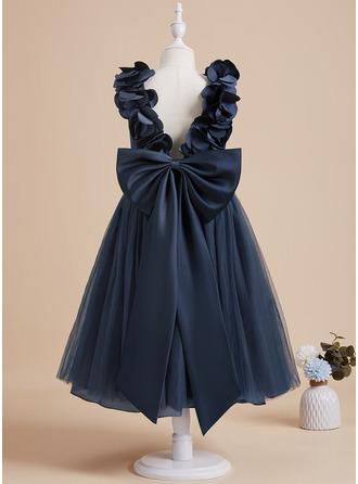 A-Line Tea-length Flower Girl Dress - Satin/Tulle Sleeveless V-neck With Flower(s)/Bow(s)