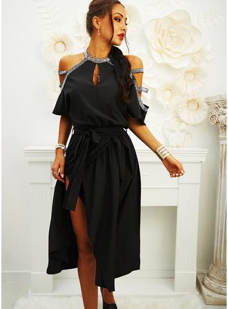 Sequins Solid A-line V-Neck Short Sleeves Cold Shoulder Sleeve Midi Little Black Party Skater Dresses