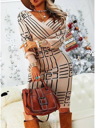 Print Bodycon V-Neck Long Sleeves Midi Elegant Pencil Dresses