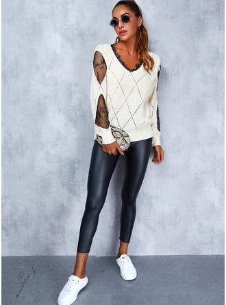 V-Neck Long Sleeves Regular Print Casual Pullovers