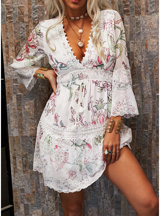 Floral Lace Print Shift V-Neck 3/4 Sleeves Midi Casual Elegant Tunic Dresses
