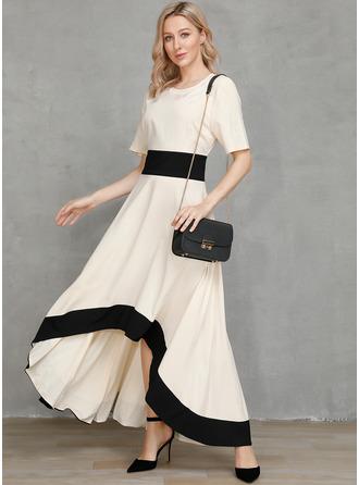 Color Block A-line Round Neck Short Sleeves Asymmetrical Elegant Party Skater Dresses