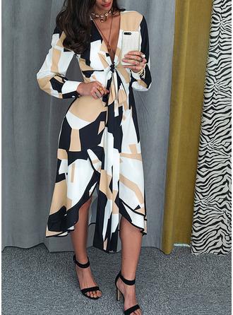 Geometric Print A-line V-Neck Long Sleeves Midi Elegant Dresses
