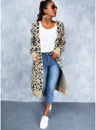 V-Neck Long Sleeves Long Leopard Casual Cardigans