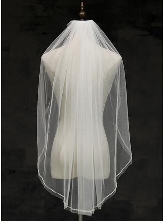 One-tier Cut Edge Fingertip Bridal Veils With Rhinestones