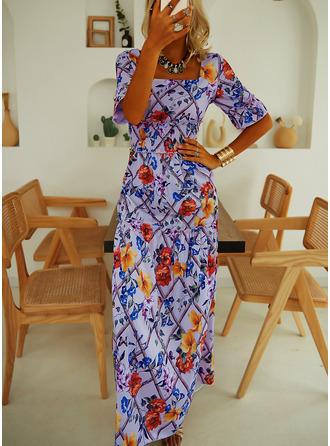 Floral Print A-line Square Neck Short Sleeves Maxi Elegant Skater Dresses