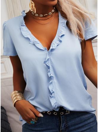 Regular Cotton Blends V-Neck Solid 3XL L S M XL XXL Blouses