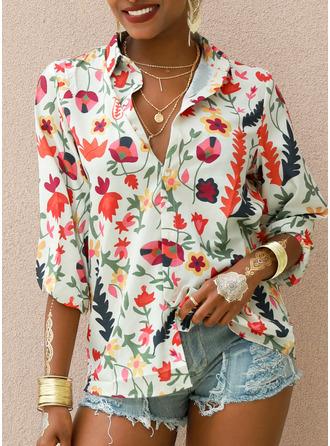 Regular Cotton Blends V-Neck Print Knit Blouses